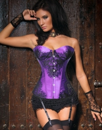Classical Lace Overlay Corset Purple