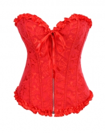 Gothic Brocade Corset Red With Zipper Front