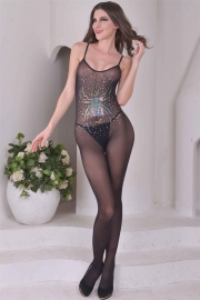 Black Sexy Transparent Lace Sequins Print Body Stocking