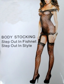 Sexy Leopard Fishnet Lace Edge Bodystocking