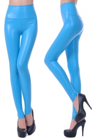 PU high waisted plus size leggings pants sky blue