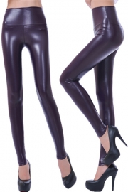 PU high waisted plus size leggings pants purple