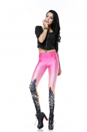 Pink aurora sky orange legging