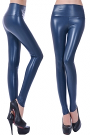 PU high waisted plus size leggings pants navy