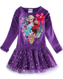 Frozen Princess Elsa and Anna Little Girls' Long-sleeve Cotton Dress Purple