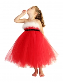 Girl's Christmas Dresses red Double Mesh Party Princess Dress