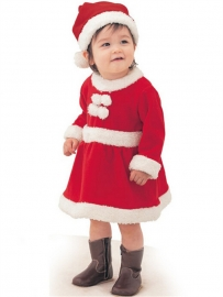 Lovely Baby Girls' Christmas Santa Long-sleeve Baby Romper