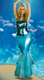 Blue Mermaid Costume With Sequins