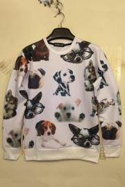 Autumn Couples  Lovely Dogs Printing Hoody White