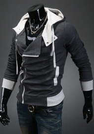 Hot sale styles Men's Autumn and winter cardigan Korean men's Hoodie Jacket Dark Gray