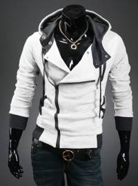 Hot sale styles Men's Autumn and winter cardigan Korean men's Hoodie Jacket White