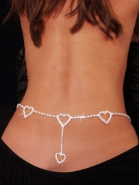 Sexy Hearts Rhinestone Belly Chain