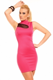 High-Neck Sexy Women Fashion Dress Rose
