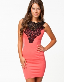Charming sexy lady lace club dress Pink