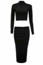 High Quality Soft Slimming Pleated 2 PCS Bodycon Dress Black