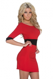 Vogue Half Sleeve Color Block Tight Mini Dress Clubwear Red
