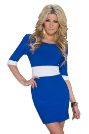 Vogue Half Sleeve Color Block Tight Mini Dress Clubwear Blue