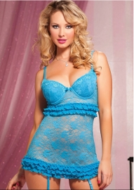 Victorian Sexy Lace Babydoll Blue