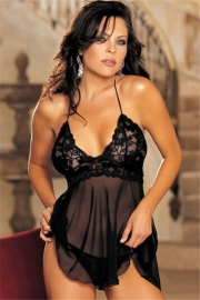 Plus Size Ladies Sexy V-neck Lingerie Nightdress Black