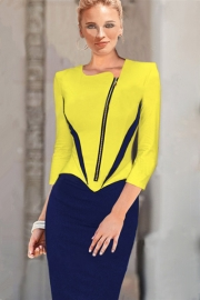Office Lady Style Hot Sale V Neck Zipper Front Fitted Bodycon Midi Dress Yellow Dark Blue