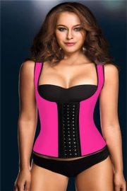 Wide Shoulder Straps Calorie Loss Rubber Corset Rose