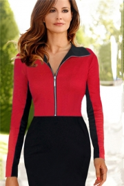 Fashion Long Sleeves Zipper Front Lapel Fishtail Pencil Midi Dress Red