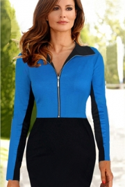 Fashion Long Sleeves Zipper Front Lapel Fishtail Pencil Midi Dress Blue