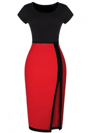 Wholesale O-neck Short Sleeve Patchwork Split Ends Pencil Midi Dress Red