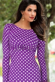 Elegant Women's White Polka Dot Pencil Midi Dress Purple