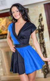 New arrival fashion sexy v-neck skater dress blue&black