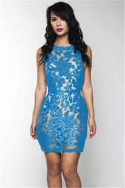 Blue crafted lace sexy O-neck bodycon dress