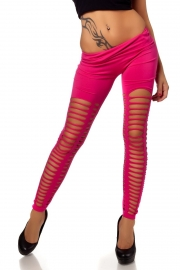 Rosy Sexy Front&Back Neat Ripped  With Small Round Holes In Medial Thigh Leggings