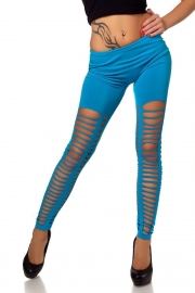 Blue Sexy Front&Back Neat Ripped  With Small Round Holes In Medial Thigh Leggings