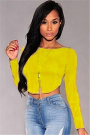 Sexy Fashion O Neck Long Sleeves Back Zipper Crop Top Solid Color T-Shirts Yellow