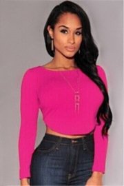Sexy Fashion O Neck Long Sleeves Back Zipper Crop Top Solid Color T-Shirts Rose