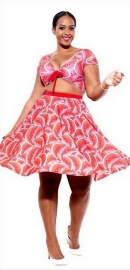 New Arrival Watermelon Print Sexy V-neck Two-piece Skater Dress