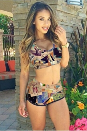 Fashion Colorful Digital Pictures Print Two Pieces Bikini Sets