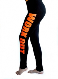 New Arrival Fashion Orange Letters Printed Yoga Leggings Black