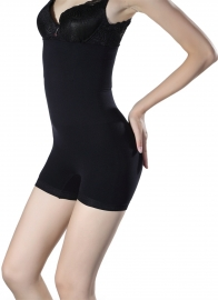 Sexy Solid One-piece Shapewear Black