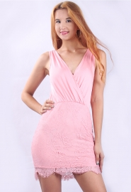 2015 New Arrival Sexy V-neck Lace Bodycon Mini Dress Pink