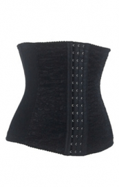 Stylish 9 Steel Bones Jacquard Waist Training Corset Black