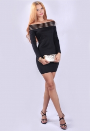 Elegant Black Stripe Slash Neck Bodycon Mini Dress