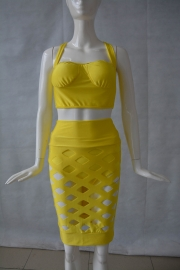 Seductive Open Caged Hollow Out Bandage Dress Set Yellow