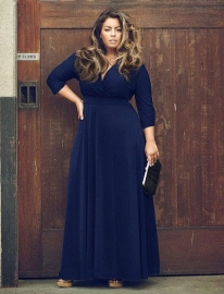 Hot Sale Women Plus Size Deep V-neck Solid Color Maxi Dress Blue