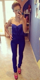 Stylish Sexy Strapless Blue Jumpsuit