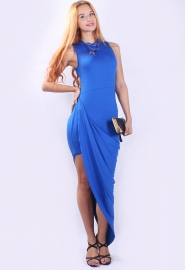Glamorous  Irregular Hem Mandarin Collar Evening Dress Light Blue