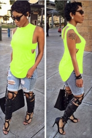 2015 Hot Sale Summer Stylish Fluorescence Green Offbeat Hollow Out Sleeveless T-Shirts