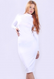 Sexy Ladies Warm Turtleneck Long Sleeve Solid Slim Bandage Dress White