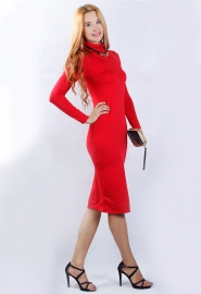 Sexy Ladies Warm Turtleneck Long Sleeve Solid Slim Bandage Dress Red