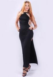 Women Sexy Nude-Colored Mesh On The Back High Split Evening Dress Blac